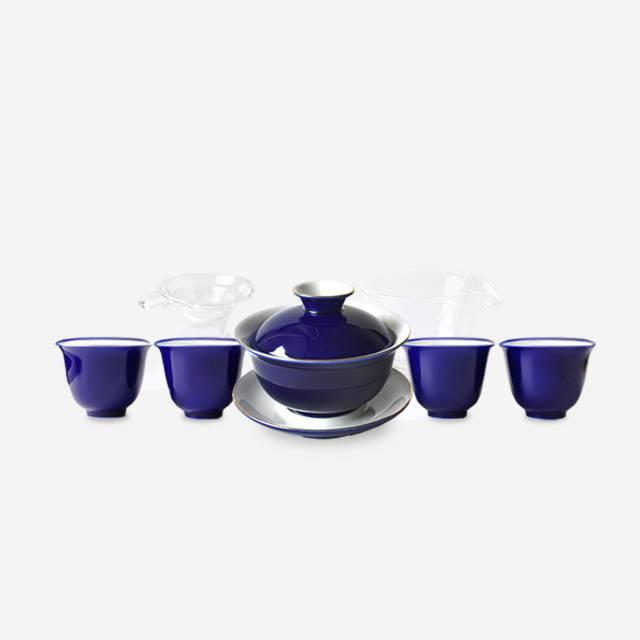 霁蓝釉雅致茶具 11件套装